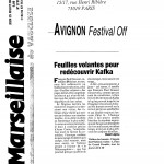 Feuilles volantes - Kafka - La marseillaise - 25 juillet 2002